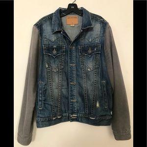 Denim trucker jacket with cotton sleeves